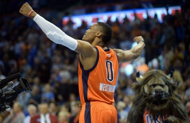 Nov 1, 2015; Oklahoma City, OK, USA;  Oklahoma City Thunder guard Russell Westbrook (0) reacts as the takes the court for action against the Denver Nuggets at Chesapeake Energy Arena. Mandatory Credit: Mark D. Smith-USA TODAY Sports